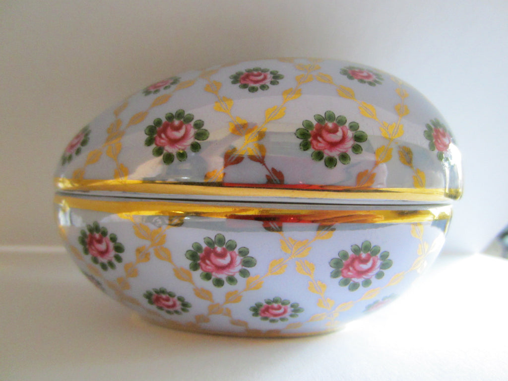 Blue Luster Egg Gilt Decorated Dresser Box Pink Roses Medallions - Designer Unique Finds   - 1