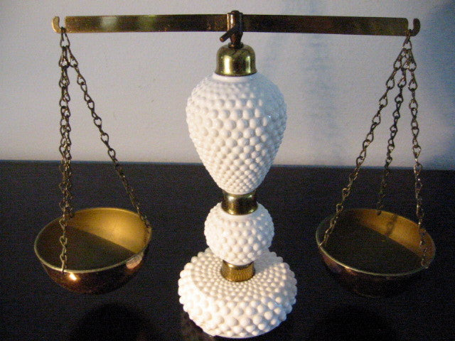 Milk Glass Scale Elite Japan Hobnail Fenton Style Brass Hardware - Designer Unique Finds   - 1