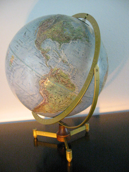 Replogle Land And Sea Vintage World Globe Wood Stand - Designer Unique Finds   - 1