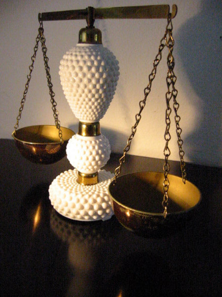 Milk Glass Scale Elite Japan Hobnail Fenton Style Brass Hardware - Designer Unique Finds   - 2