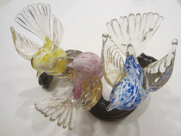Barrovier Toso Murano Glass Colorful Birds Infused Gold Dust On Black