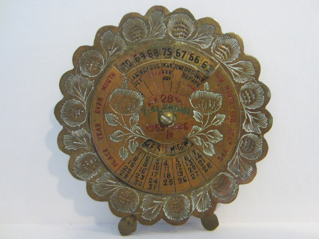 Perpetual 28 Years Brass Desk Calendar Painted Etched Flowers - Designer Unique Finds