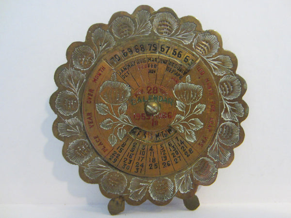 Perpetual 28 Years Brass Desk Calendar Painted Etched Flowers - Designer Unique Finds   - 1