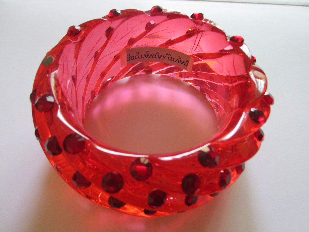 David Salvatore New York Fiery Red Bangle Spiral Style Crystal Bracelet - Designer Unique Finds