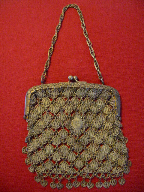 Chinese Dragon Silver Mesh Filigree Purse - Designer Unique Finds