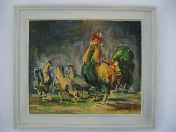 Roosters Mid Century Impressionist Outdoor Oil on Panel - Designer Unique Finds   - 2