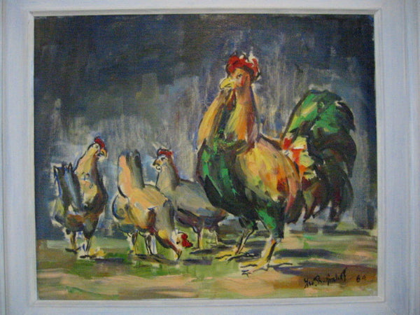 Roosters Mid Century Impressionist Outdoor Oil on Panel - Designer Unique Finds   - 3