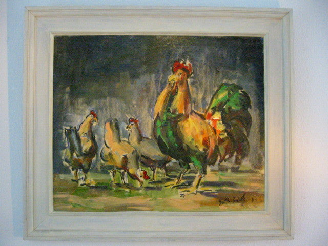 Roosters Mid Century Impressionist Outdoor Oil on Panel - Designer Unique Finds   - 1