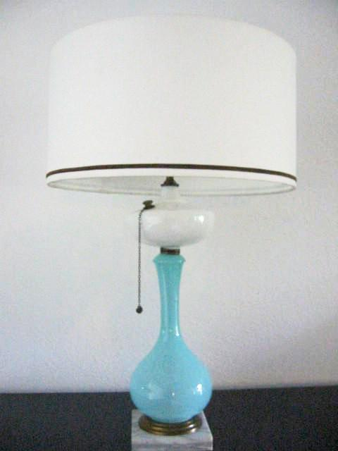 Milk Glass Kerosene Satin Blue Marble Lamp Modern Drum Shade - Designer Unique Finds   - 1