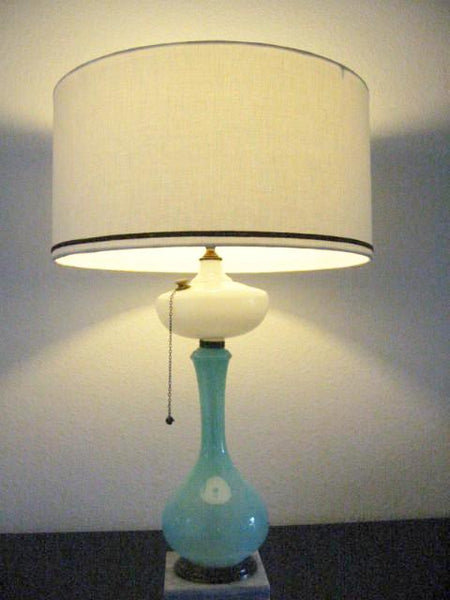 Milk Glass Kerosene Satin Blue Marble Lamp Modern Drum Shade - Designer Unique Finds   - 2