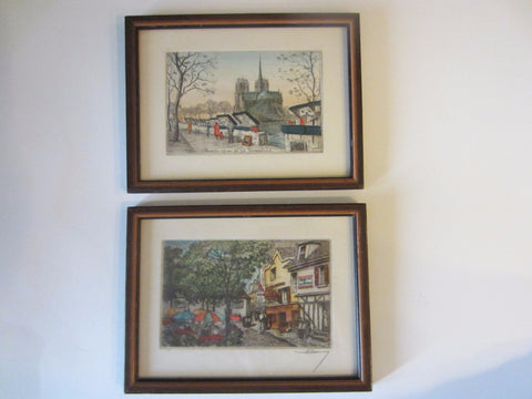 Paris Quai De La Tournelle Signed Hand Colored Cityscape Drawings In Pair - Designer Unique Finds