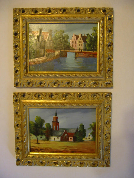 Architectural Cityscape Oil On Board Belgian Paintings Signed Koostra In Pair - Designer Unique Finds