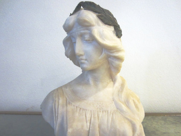 Antonio Frilli Alabster Portrait Bust On Marble Stand Olive Leaf Headband - Designer Unique Finds