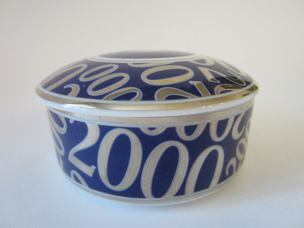 Japanned Tiffany & Co Millennium Gold Plated Cobalt Porcelain Box - Designer Unique Finds   - 1