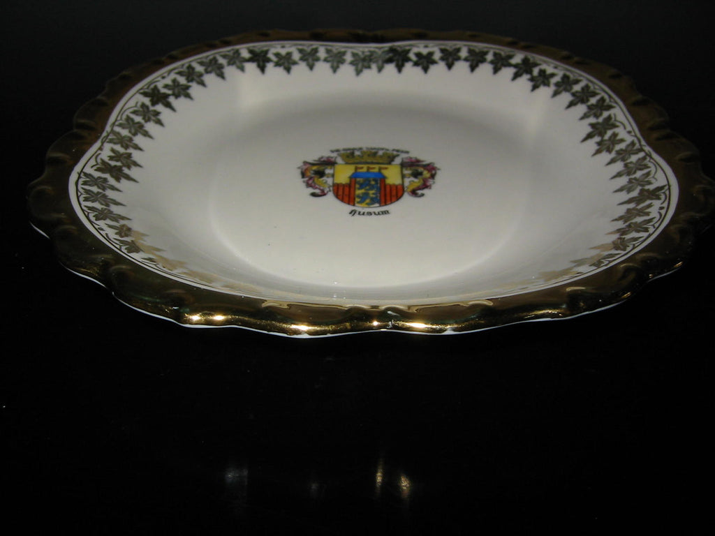 Bavaria Porcelain Bowl Center Gilt Crested Coat of Arm Medallion - Designer Unique Finds   - 1