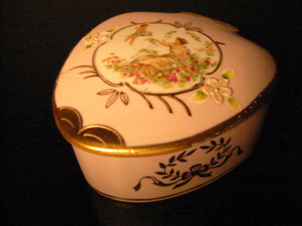 Lenwile Ardalt Japan Pink Dresser Box Decorated Romantic Medallion - Designer Unique Finds
