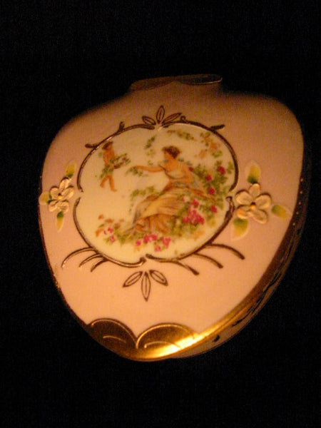 Lenwille Ardalt Romantic Japan Pink Porcelain Box Gold Painted Floral Figurative