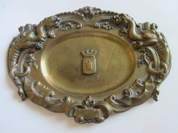 Arras France Signed Metal Trays Art Nouveau Coat of Arm Shields - Designer Unique Finds