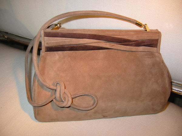 Designer Salvatore Ferragamo Camel Clutch Handbag Brown Leather Suede - Designer Unique Finds   - 1