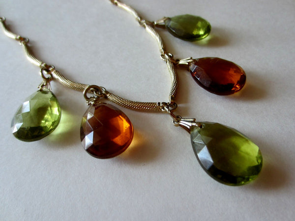 Charms Necklace Green Citrine Glass Tear Drops
