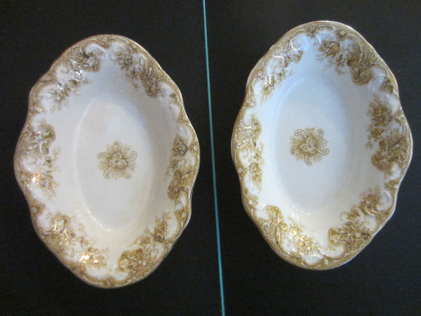 Upper Hanley Pottery Co Semi Porcelain Victoria England Oval Trays - Designer Unique Finds