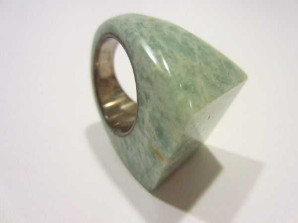 Green Marbleized Sterling Silver Cocktail Ring