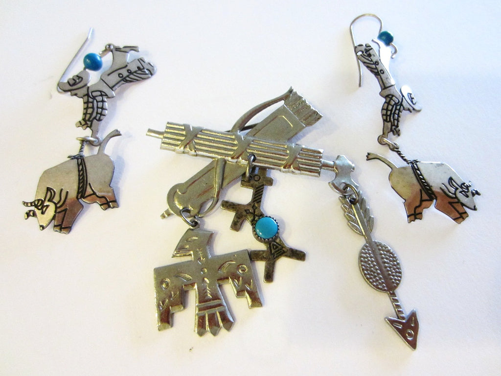 Berebl Sterling Brooch Earrings Collection Symbolizing Rodeo Native Turquoise Charms