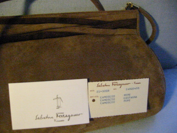 Designer Salvatore Ferragamo Camel Clutch Handbag Brown Leather Suede - Designer Unique Finds   - 5