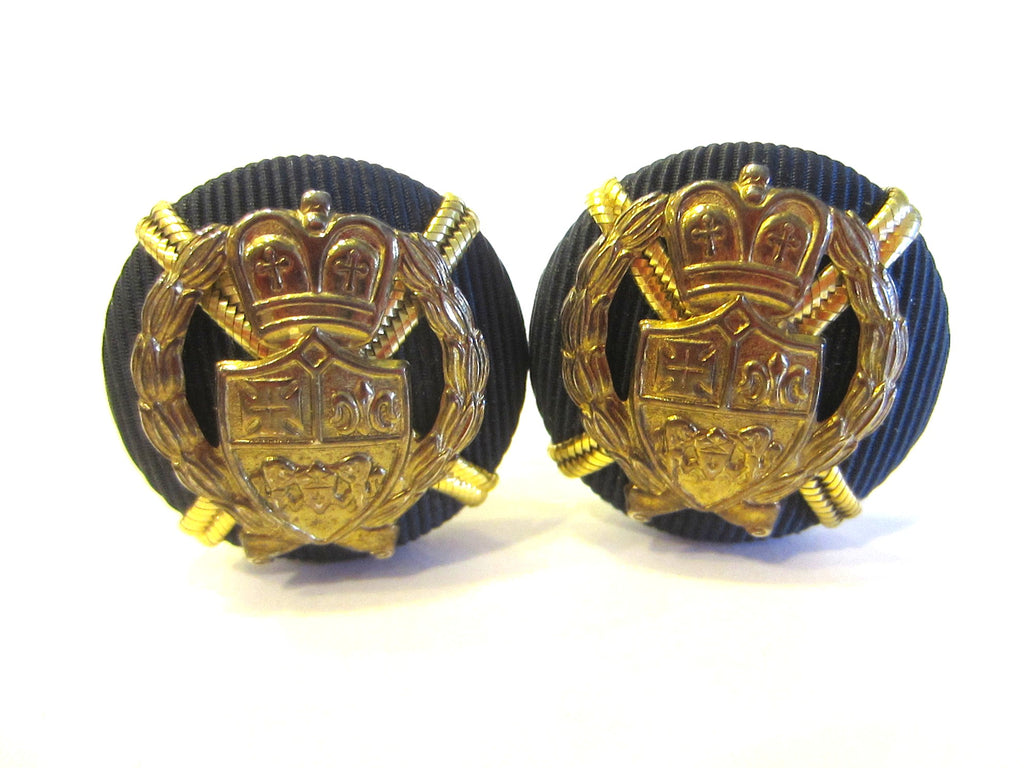 Earrings Mid Century Clip On Brass Coat of Arms Crested Navy Blue