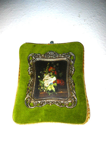 A Bronze Frame Floral Silk Bouquet Green Velvet Treasure From Italy Broadway