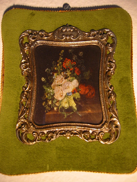 Treasure From Italy Floral Silk Print Brass Frame For Broadway - Designer Unique Finds