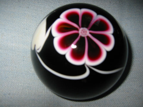 Abelman Black Glass Paperweight Infused Pop Flower Signed Dated Numbered