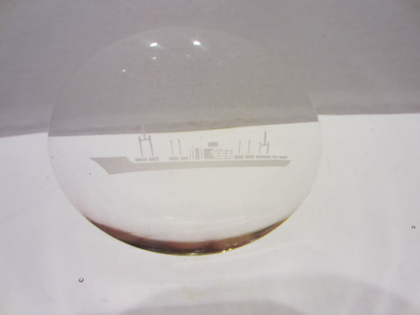 Folk Art Glass Bowl Steamship Etched Medallion - Designer Unique Finds