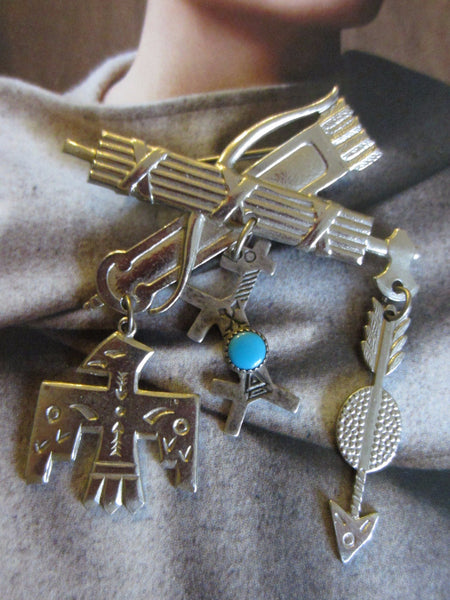 Berebl Sterling Cowboy Indian Suite Earrings Turquoise Brooch - Designer Unique Finds   - 3