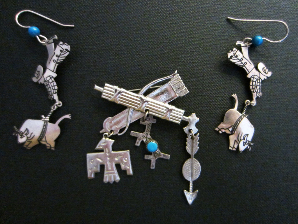 Berebl Sterling Cowboy Indian Suite Earrings Turquoise Brooch - Designer Unique Finds   - 1