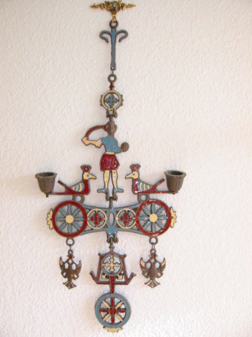 Hanging Chandelier Metal Candlle Holder Enameled Figure Birds Marked Greece - Designer Unique Finds   - 1