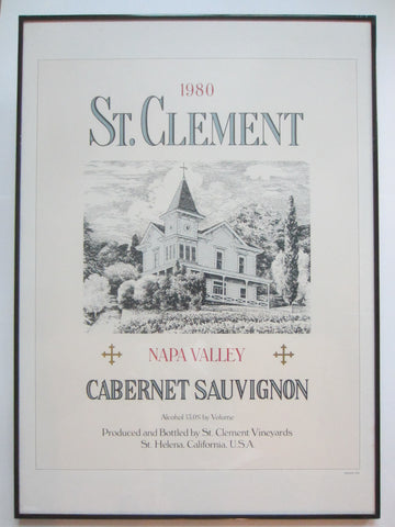 1980 St Clement Napa Valley Cabernet Sauvignon Wine Art Poster