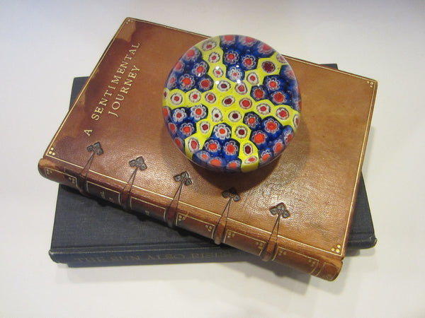 Murano Paperweight Star Encased Millefiori Glass Flowers
