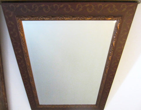 Rectangle Beveled Mirror Brown Gilt Wood Contemporary Wall Decor - Designer Unique Finds