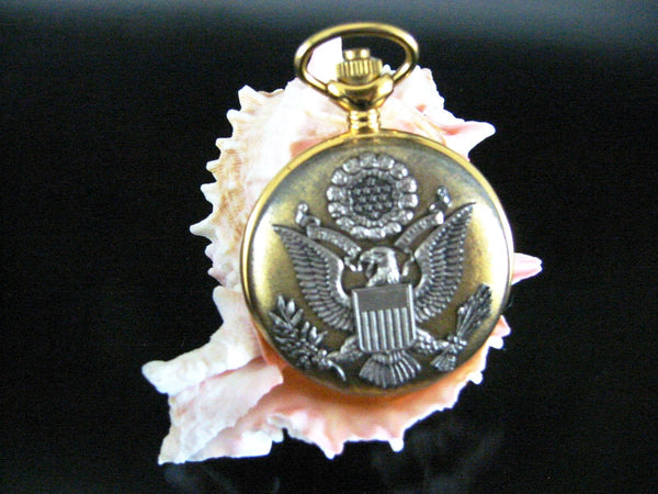 Majesti Swiss Skeleton Brass Pocket Watch Eagle Crest - Designer Unique Finds