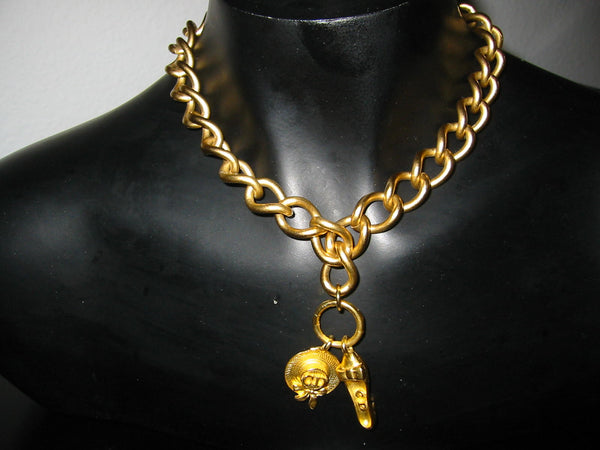 Christian Dior Charms Brass Link Golden Choker - Designer Unique Finds   - 2