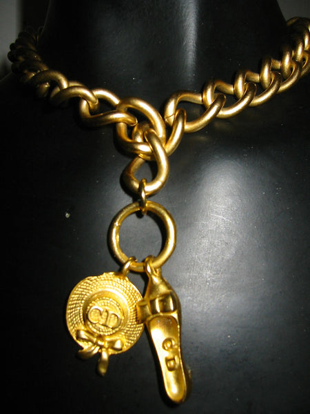 Christian Dior Charms Brass Link Golden Choker - Designer Unique Finds   - 4