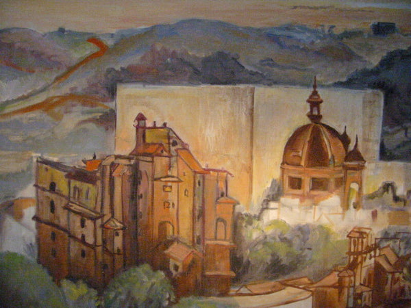 Impressionist Tuscany Italian City View  Architectoral Oil On Canvas - Designer Unique Finds   - 1