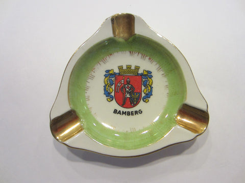 A Pictorial Coat of Arm Vintage Hand Painted Porcelain Ashtray Titled Bamberg
