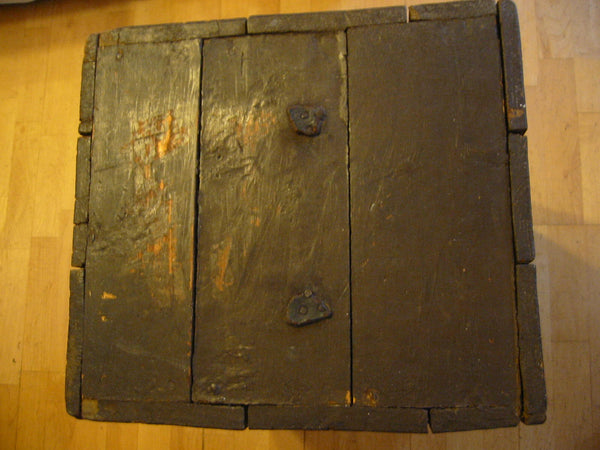 Primitive Wood Blanket Chest Metal Heart Padlock American Trunk - Designer Unique Finds   - 5