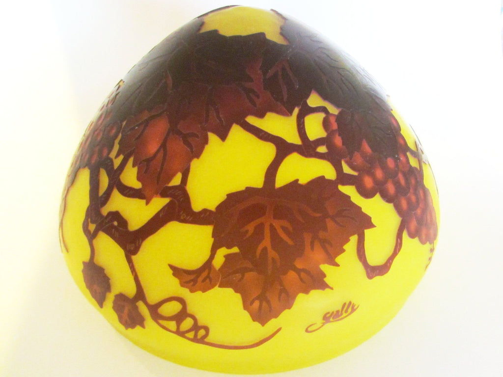 Galle Style Cameo Glass Yellow Lamp Shade Raised Burgundy Grapes - Designer Unique Finds