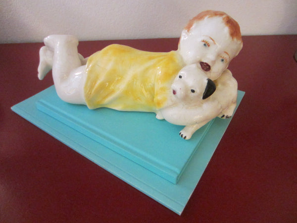 Red Hair Child White Dog Porcelain Piano Art Heubach Germany - Designer Unique Finds