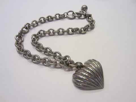 Anne Klein Puffy Heart Metal Signature Pendant