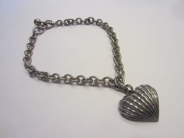 Anne Klein Heart Pendant Vintage Chain Signature Silver Tone Necklace