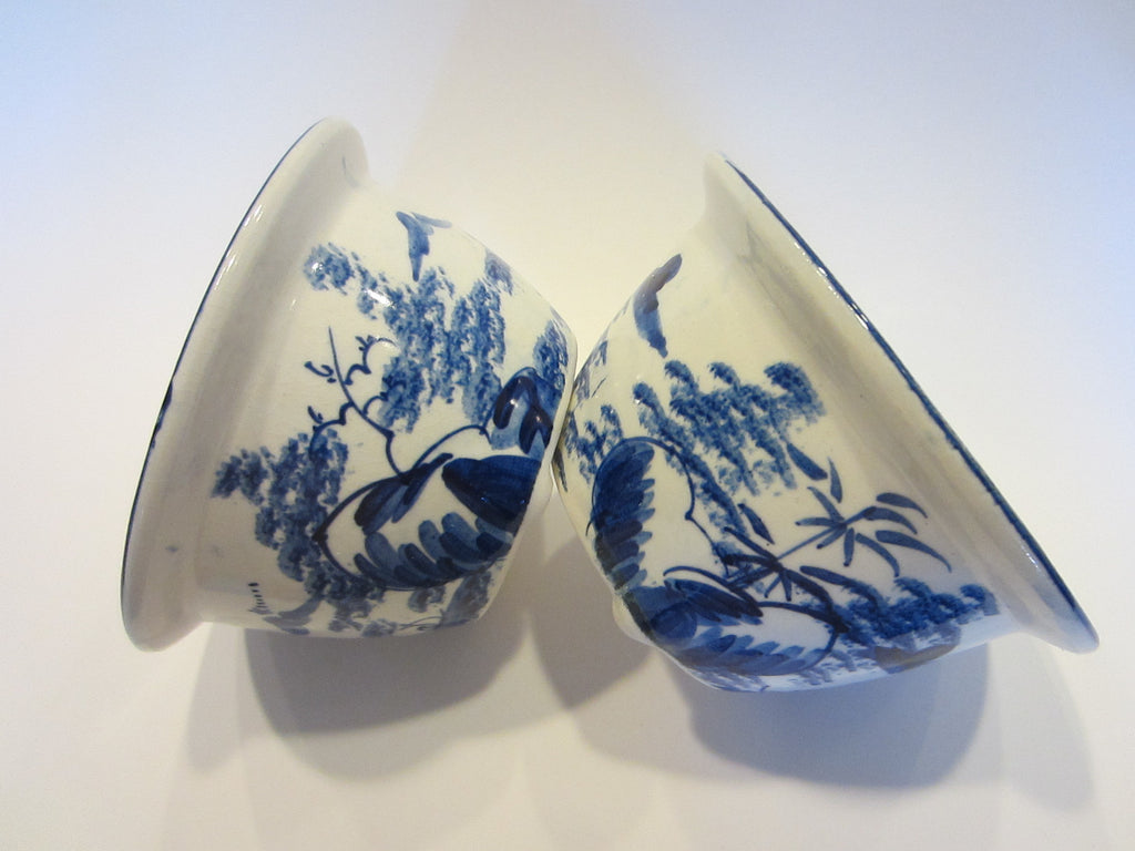 Blue White  Ceramic Planters Asian Inspires Bowls - Designer Unique Finds